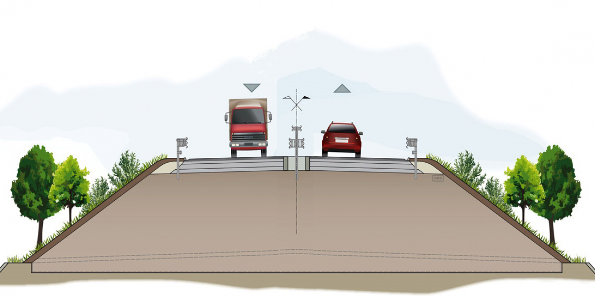 Sizing and calculation of a supporting structure necessary to ensure stability of an embankment road infrastructure
